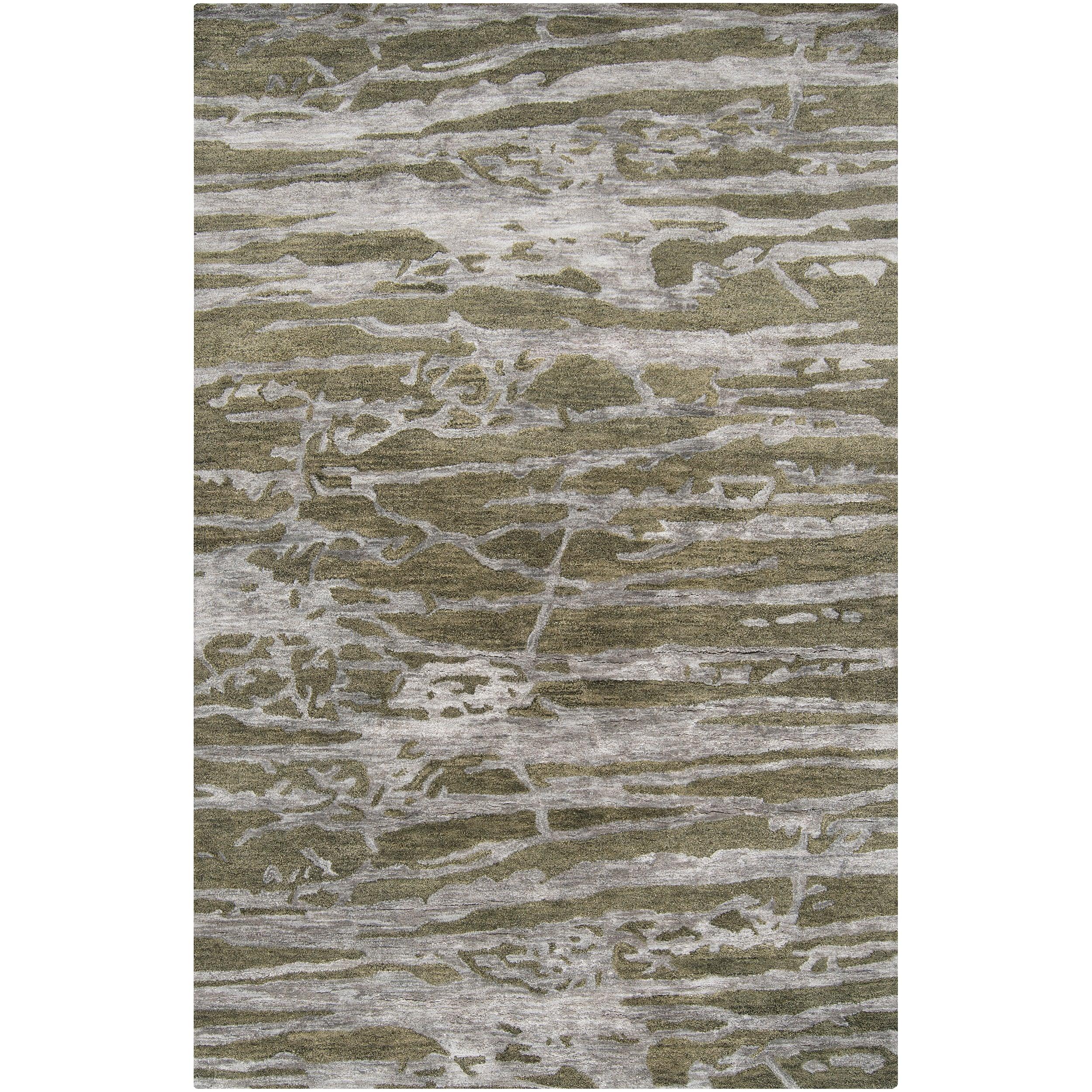 Hand-tufted Green Caparo Street Abstract Wool Area Rug - 5' x 8'