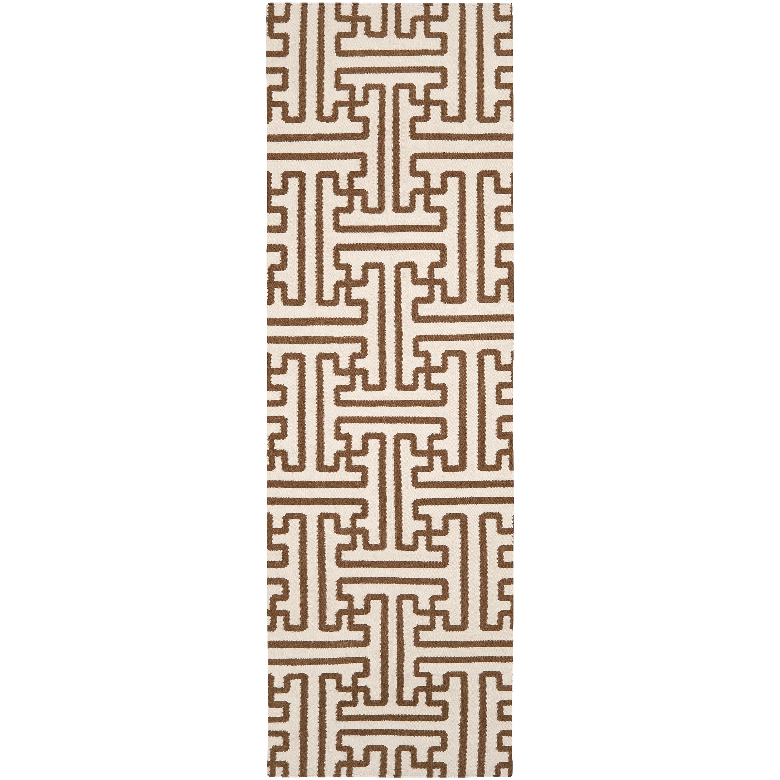 Hand-Woven Beige Queens Bay Wool Runner Area Rug - 2'6 x 8'