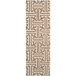 Hand-woven Beige Queens Bay Wool Runner Rug (2'6 x 8') - Thumbnail 0