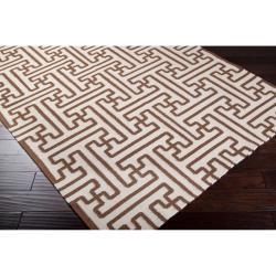"Hand-Woven Geometric Beige Queens Bay Wool Rug (3'6"" x 5'6"") - Thumbnail 1"