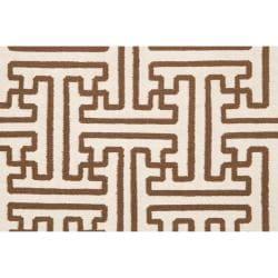 "Hand-Woven Geometric Beige Queens Bay Wool Rug (3'6"" x 5'6"") - Thumbnail 2"
