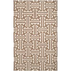 Hand-woven Beige Queens Bay Wool Area Rug (5' x 8') - Thumbnail 0