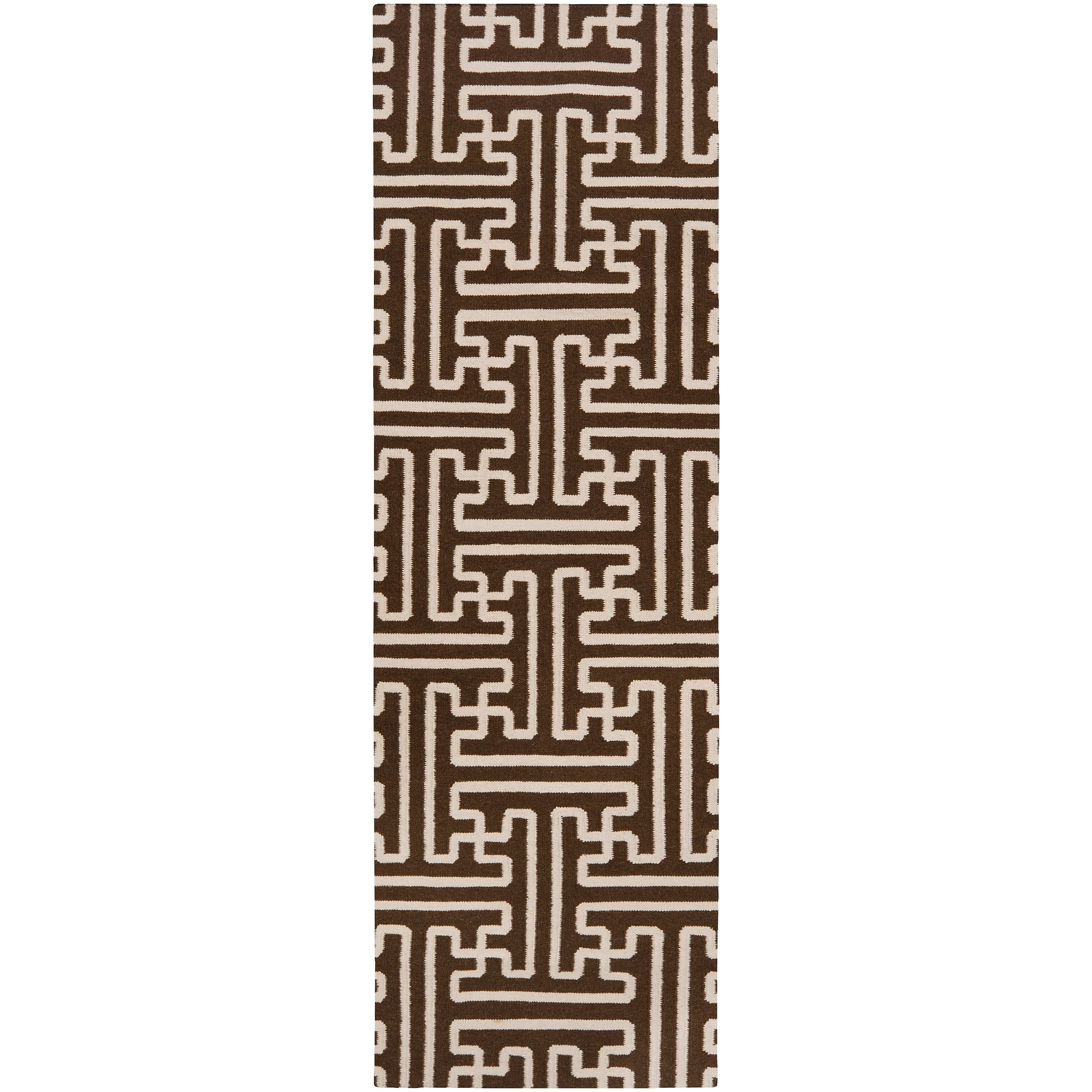 Hand-woven Brown Queens Bay Wool Rug (2'6 x 8')