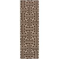 Hand-woven Brown Queens Bay Wool Area Rug (2'6 x 8')