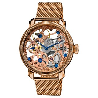 Link to Akribos XXIV Men's Stainless-Steel Mechanical Skeleton Mesh Rose-Tone Bracelet Watch Similar Items in Men's Watches