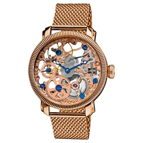 Akribos XXIV Men's Stainless-Steel Mechanical Skeleton Mesh Rose-Tone Bracelet Watch