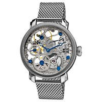 Akribos XXIV Men's Stainless Mechanical Skeleton Mesh Silver-Tone Bracelet Watch