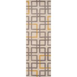 Hand-tufted Grey Aragon Geometric Squares Wool Rug (2'6 x 8')
