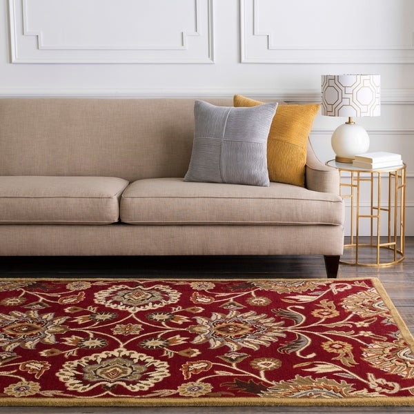 """Hand-Tufted Red Kiser Wool Area Rug - 7'6"""" x 9'6"""""""