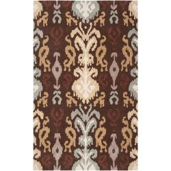 Hand-hooked Brown Benton Area Rug (3'6 x 5'6) - Thumbnail 0