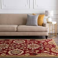 Floral Hand-Tufted Red Kiser Wool Area Rug - 5' x 8'