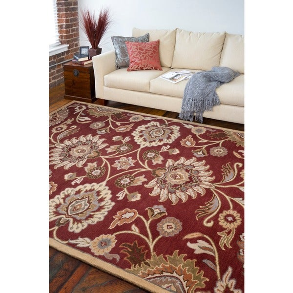 Hand-tufted Red Kiser Floral Wool Area Rug - 8' X 11'