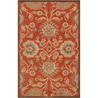 Hand-tufted Dark Red Kiser Wool Area Rug - 5' x 8'