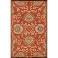 Hand-tufted Dark Red Kiser Wool Area Rug - 6' x 9'
