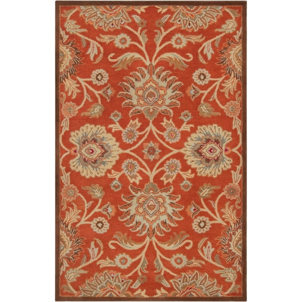 "Hand-tufted Dark Red Kiser Wool Area Rug - 7'6"" x 9'6"""