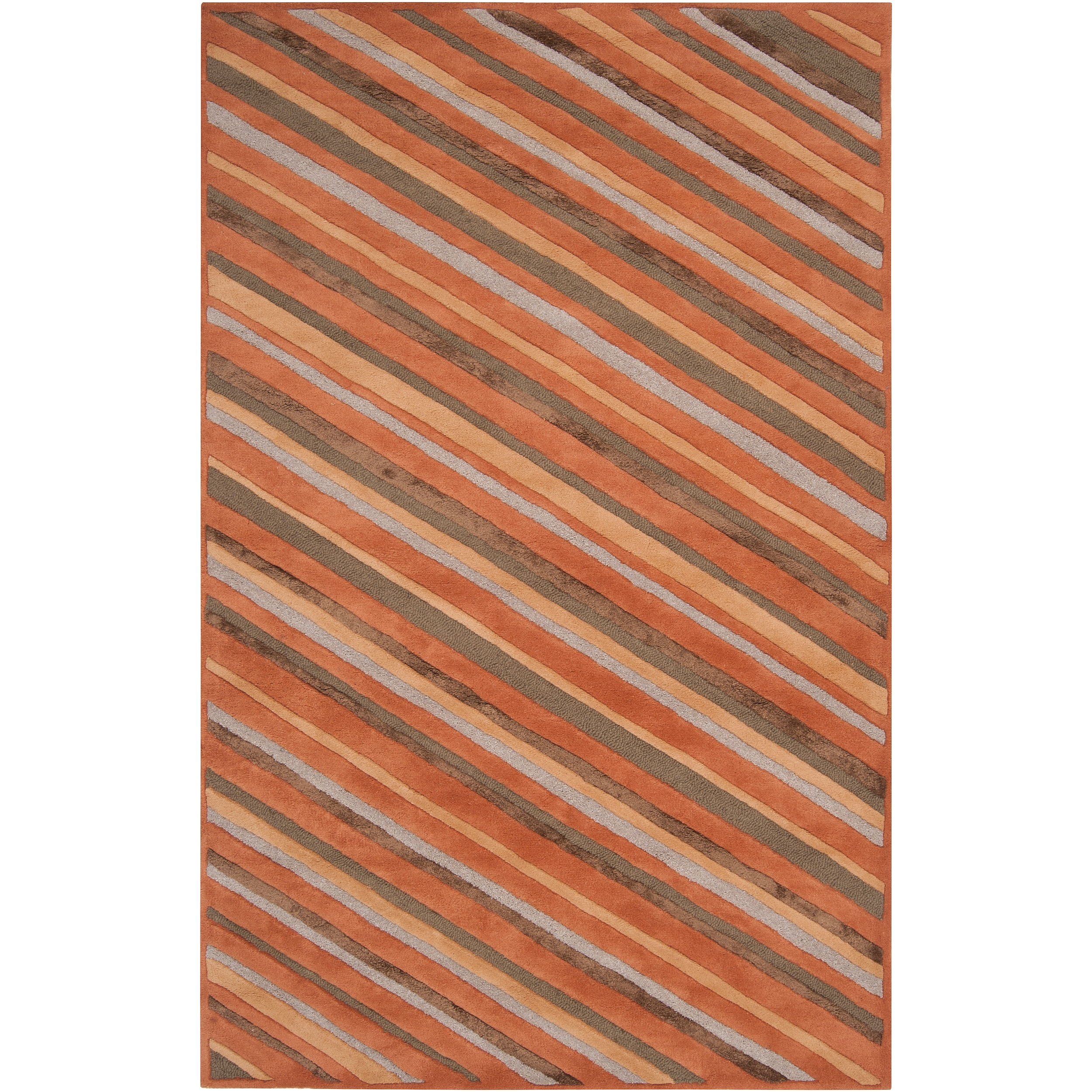 Hand-tufted Brown Cane Diagonal Stripes Wool Rug (9' x 13')