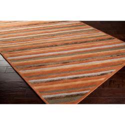 Hand-tufted Brown Cane Diagonal Stripes Wool Rug (9' x 13')