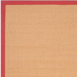 Woven Red Hillsborough West Natural Fiber Abstract Sisal Rug (9' x 12') - Thumbnail 1
