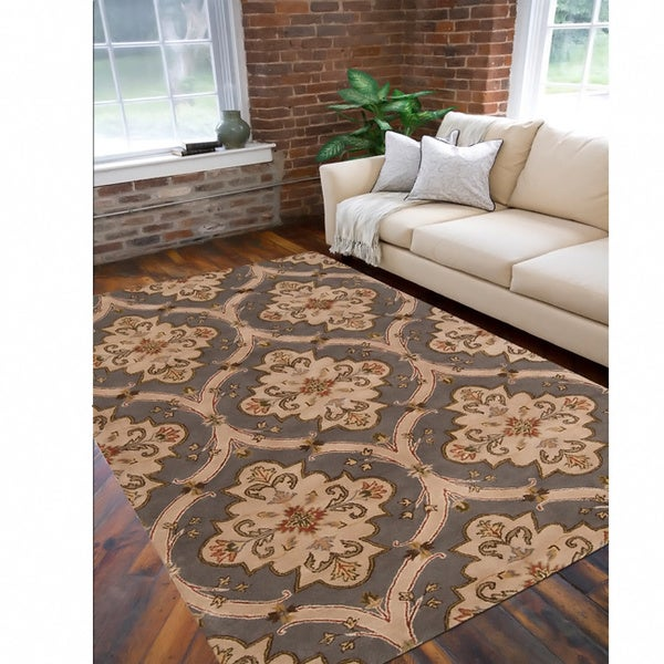 Copper Grove Cedria Hand-tufted Grey Wool Area Rug - 5' x 8'