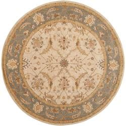 Hand-tufted Beige Caven New Zealand Wool Area Rug (8' Round) - Thumbnail 0