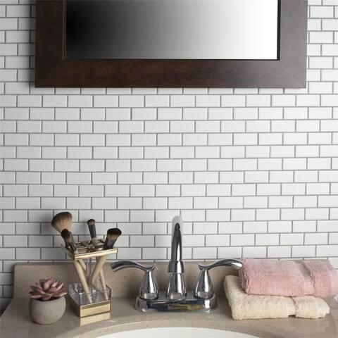 SomerTile 11.75x11.75-inch Victorian Subway Matte White Porcelain Mosaic Floor and Wall Tile (10 tiles/9.8 sqft.)
