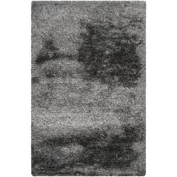 Hand-woven Grey Dinett Luxurious Shag Rug (5' x 8')