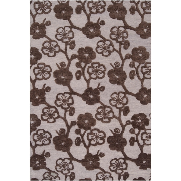 Hand-tufted Brown Belle Towers New Zealand Wool Area Rug - 9' x 13'
