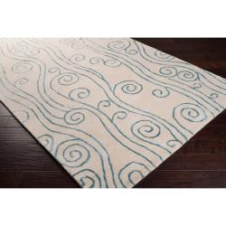 "Somerset Bay Hand-Tufted Bacelot Bay Ivory Beach-Inspired Wool Abstract Rug (3'3"" x 5'3"")"