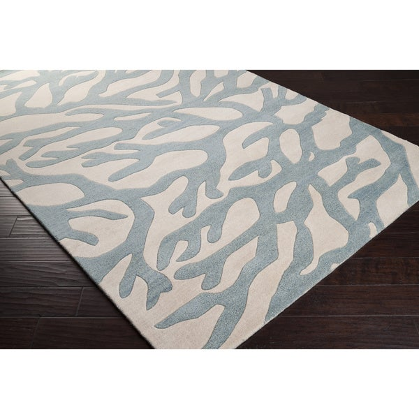 Hand-tufted Bacelot Bay Blue Beach Inspired Wool Rug (5' x 8')