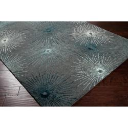 Hand-tufted Gray Finesse New Zealand Wool/ Viscose Rug (9' x 13') - Thumbnail 1