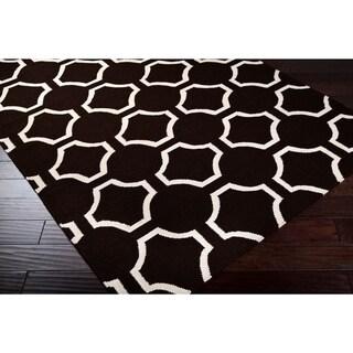 "Hand-woven Black Faller Wool Area Rug - 2'6"" x 8' Runner"