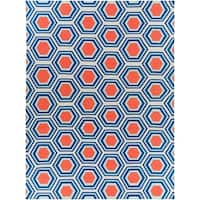 Hand-Woven Blue and Red Faller Wool Area Rug - 8' X 11'
