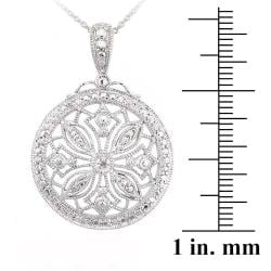 DB Designs Sterling Silver White Diamond Accent Medallion Vintage Snowflake Necklace - Thumbnail 2