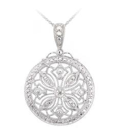 DB Designs Sterling Silver White Diamond Accent Medallion Vintage Snowflake Necklace - Thumbnail 0