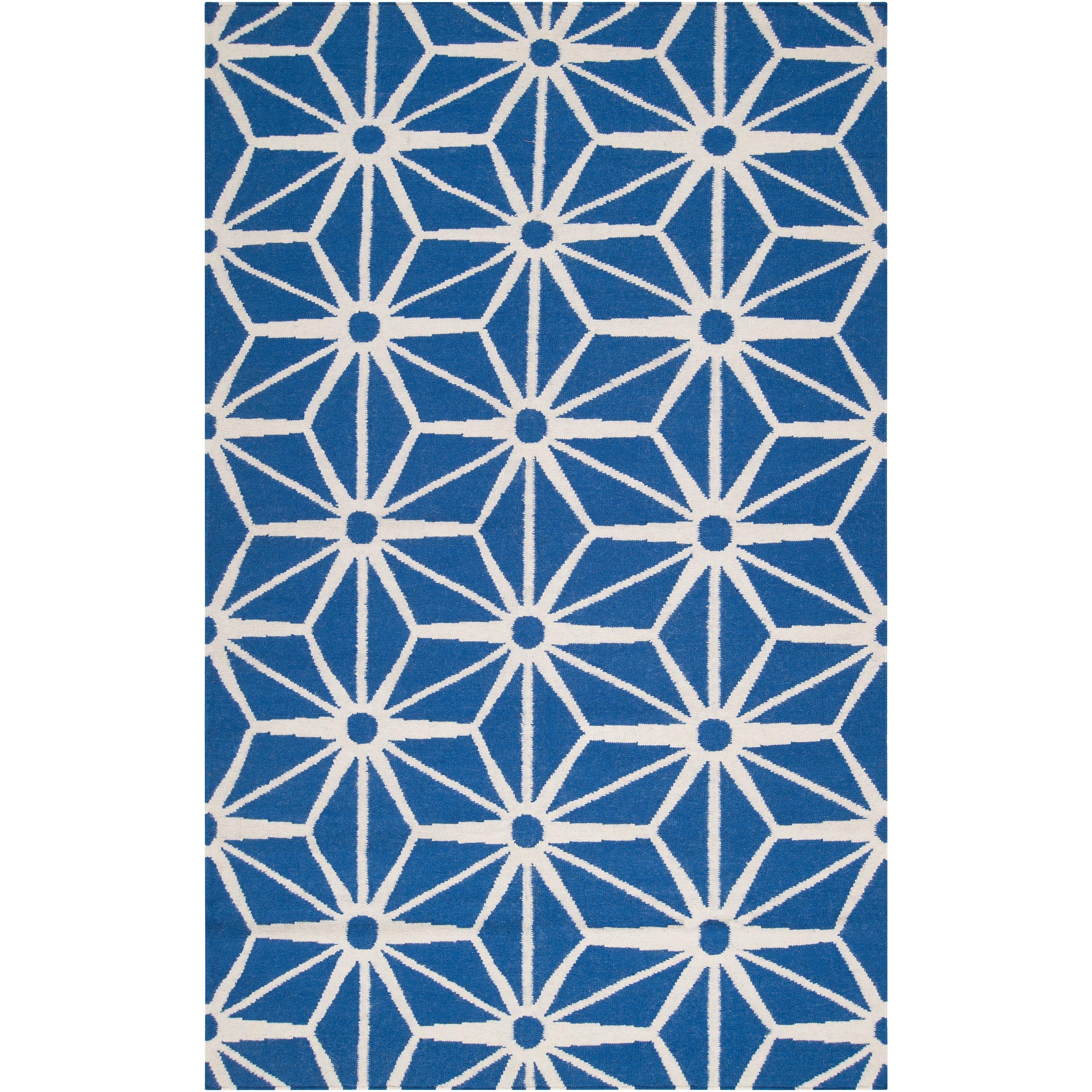 Jill Rosenwald Hand-woven Blue Faller Wool Rug (8' x 11')