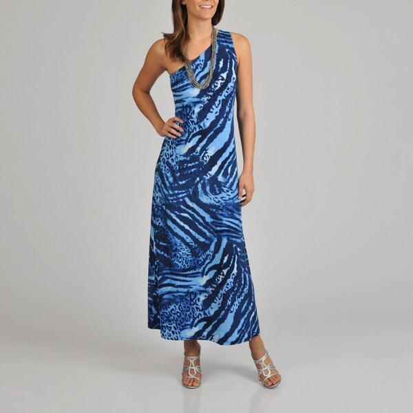 Lennie for Nina Leonard Women's Animal Print One Shoulder Maxi Dress