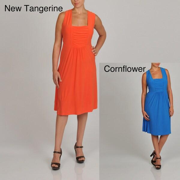 Lennie for Nina Leonard Womens Plus Sleeveless Jersey Dress Dresses