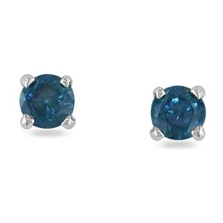 Miadora 14k White Gold 1/3ct TDW Blue Diamond Stud Earrings