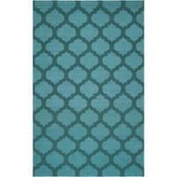 Hand-woven 'Caroni' Blue Wool Area Rug (5' x 8')