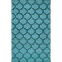 Hand-woven 'Caroni' Blue Wool Area Rug - 5' x 8'