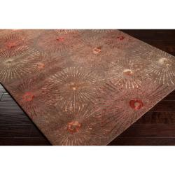 Hand-tufted Brown Finesse New Zealand Wool/ Viscose Rug (8' x 11') - Thumbnail 1