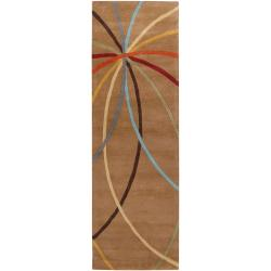 Hand-tufted Tan Arima Bay Floral Wool Rug (2'6 x 8')