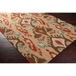 Hand-woven Green Caroni Wool Rug (3'6 x 5'6) - Thumbnail 1
