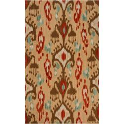 Hand-woven Green Caroni Wool Rug (3'6 x 5'6)