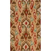 Hand-woven Tan Caroni Wool Area Rug - 8' x 11'
