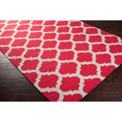 Hand-woven Red Caroni Wool Rug (3'6 x 5'6) - Thumbnail 1
