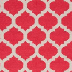 Hand-woven Red Caroni Wool Rug (3'6 x 5'6) - Thumbnail 2