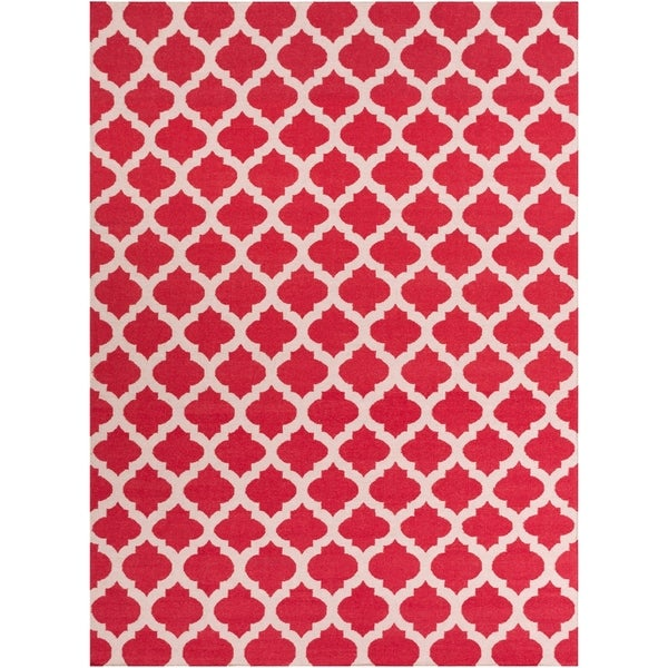 Hand-woven Red Caroni Wool Area Rug - 8' x 11'