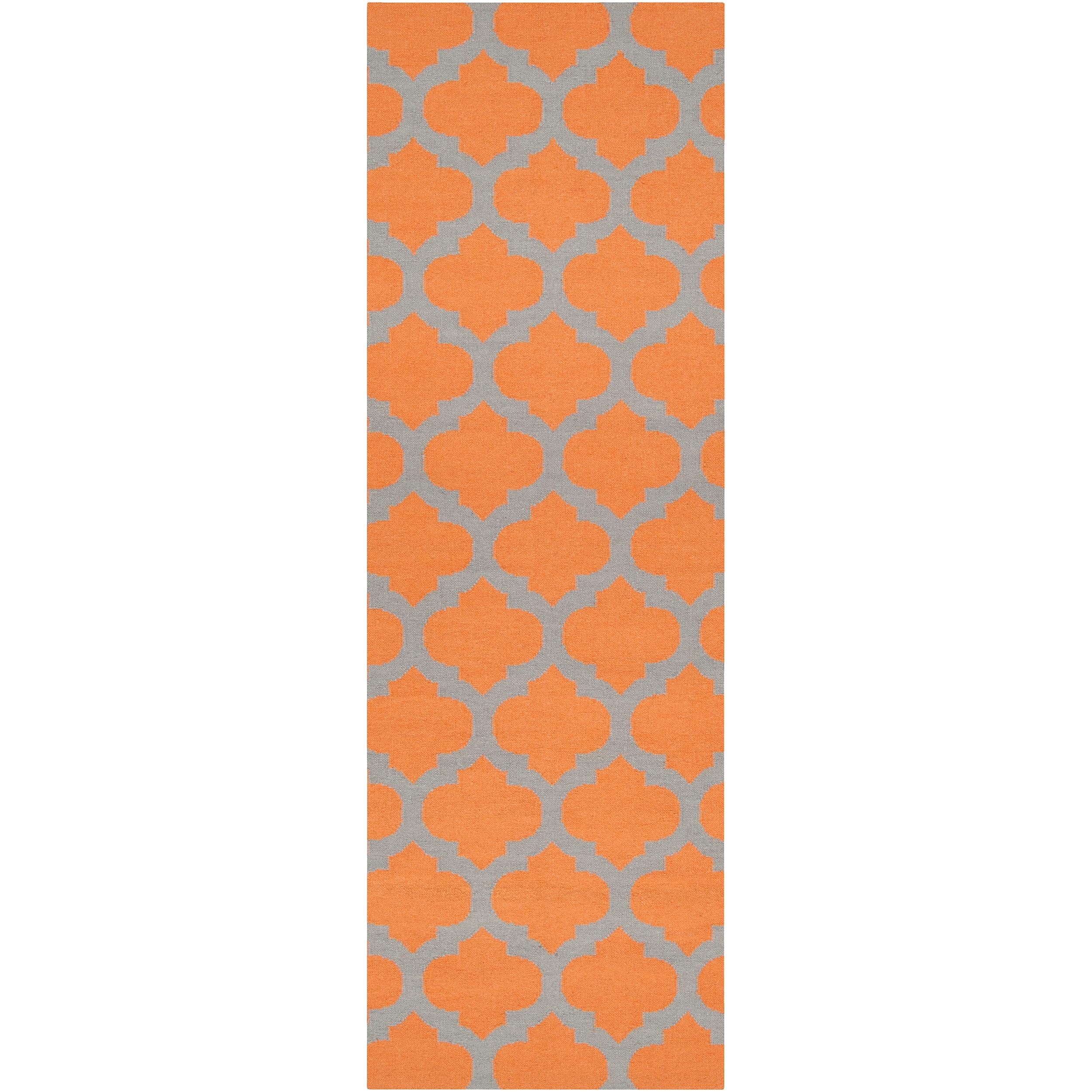 Hand-woven Orange Caroni Wool Rug (2'6 x 8'), Size 2' x 8'