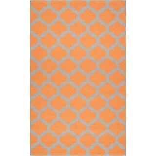 Hand-woven Orange Caroni Wool Area Rug - 5 x 8/Surplus (Carrot - 5 x 8/Surplus)